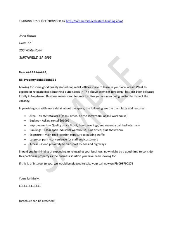real estate prospecting letters samples free prospecting letter real estate 24201 | Propertyforleaselocallysml