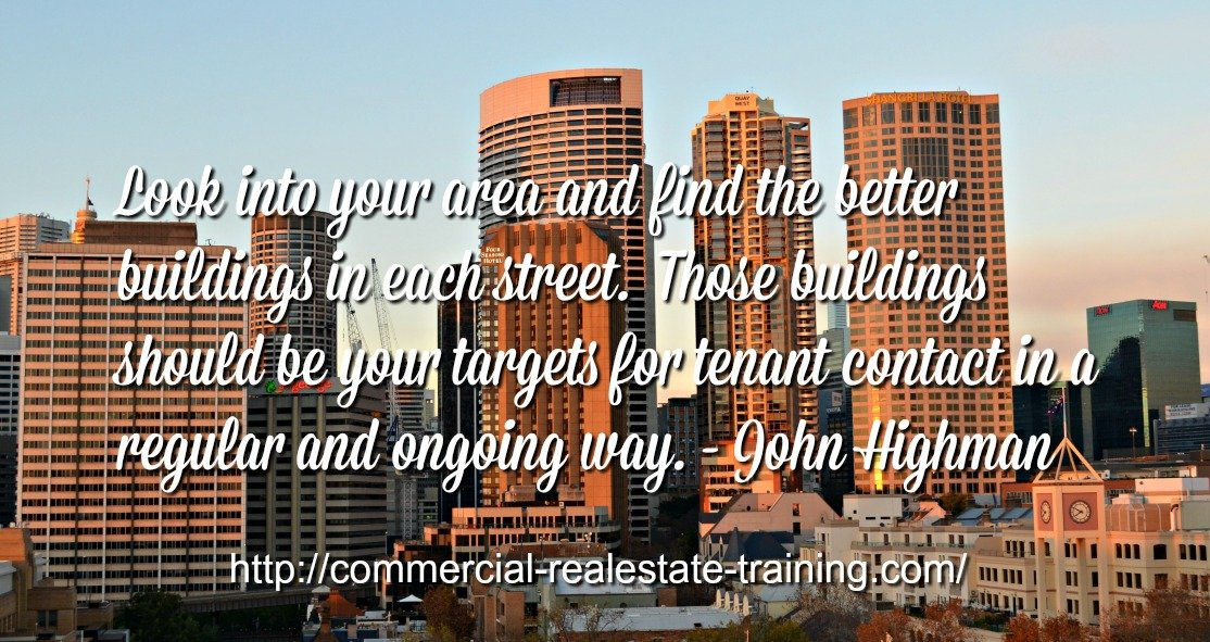 city buildings with leasing quote over